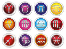 Horoscope zodiac signs. 12 horoscope many colored zodiac signs Royalty Free Illustration