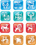 Horoscope zodiac signs. 12 horoscope many colored zodiac signs Stock Illustration