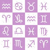 Horoscope, zodiac signs, astrological seamless vector pattern Royalty Free Stock Images
