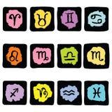 Horoscope Zodiac  Star signs, vector set. Royalty Free Stock Photo