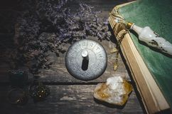Zodiac wheel. Horoscope zodiac wheel on fortune teller table background. Astrological forecas concept royalty free stock image