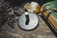 Zodiac wheel. Horoscope zodiac wheel on fortune teller table background. Astrological forecas concept stock photos