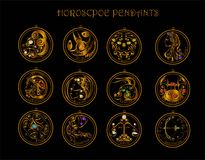 12 Horoscopes and diamond of Zodiac. And for pendant accessories royalty free illustration