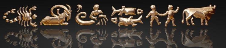 Horoskop - Tierkreis - Goldmetall Stockfoto