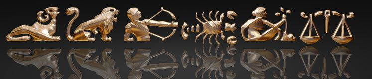 Horoskop - Tierkreis - Goldmetall Stockbild