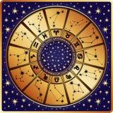 Horoskopcirkel. Zodiaktecken och konstellationer Arkivbild