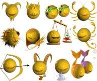 horoskopet för emoticonen 3d gjorde av tecken stock illustrationer