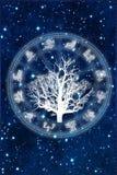 Horoskopet med trädet av livzodiak undertecknar över stjärnklar universumbakgrund som astrologibegrepp stock illustrationer