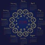 Horoskopkalender 2015 stock illustrationer