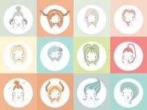 Horoskoptecken med flickor vektor illustrationer