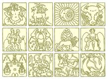 horoskopzodiac stock illustrationer