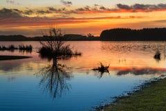 Horowhenua Lake Sunset Stock Photography
