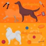 Horozontal banner, dog design elements, Irish setter and samoyed in flat style. Grooming, walking and training items. Royalty Free Stock Image