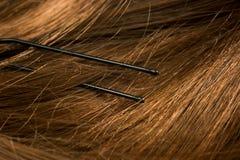 Horquilla en macro del pelo imagenes de archivo