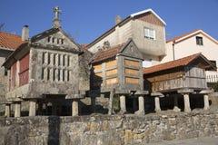 Horreo保持的传统建筑在北西班牙收获了五谷 免版税图库摄影