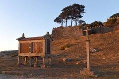 Horreo στο παράκτιο χωριό Baiona Pontevedra, GA Στοκ φωτογραφία με δικαίωμα ελεύθερης χρήσης