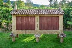 Horreo en typisk spansk spannmålsmagasin Royaltyfri Foto