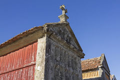 Horreo: gammalt skafferi för matbevarande Galicia spain Arkivbild