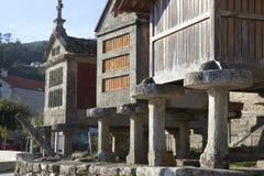 Horreo tradycyjna budowa utrzymywać zbierał adrę w północnym Hiszpania Obraz Stock