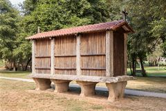 Horreo typical granary from the northwest of the Iberian Peninsula. Galician granary stock images