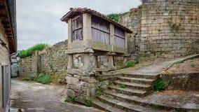 Horreo typisk spansk spannmålsmagasin i tappninggata Arkivbilder