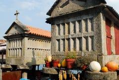 Horreos av Combarro, Pontevedra, Spanien Arkivbild