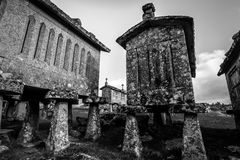 Horreos in Lindoso - Portugal Stock Foto's