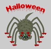 A horrible, big scary spider on halloween background Royalty Free Stock Photo