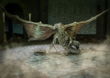 Female Cthulhu like monster sitting in a dungeon. royalty free illustration