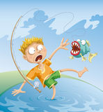Horrible Fishing Accident. The fisherman caught a terrible fish and they both were very frightened Royalty Free Stock Photos