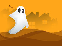 Horrible ghost for Halloween celebration. Horrible white ghost on haunted house background for Happy Halloween Party celebration Stock Photography
