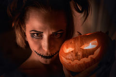 Horrible girl with scary mouth and eyes Royalty Free Stock Photo