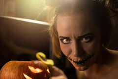 Horrible girl with scary mouth and eyes Stock Images