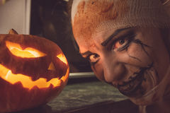 Horrible girl with scary mouth and eyes Royalty Free Stock Images
