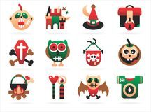 Horrible halloween icons. On a white background Royalty Free Stock Photo