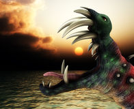 Horrible Halloween Monster Landscape. A horrible Halloween monster in a sea landscape Stock Image
