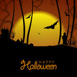 Horrible night view for Halloween Party. Royalty Free Stock Image