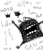 Horrible scribble hand drawn monster monochrome doodle design Stock Photography