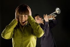 Horrible sound Stock Photography