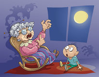 Horrible Story. Grandmother tells the horrible story to her grandson in the evening. Eps 8 file Royalty Free Stock Photos