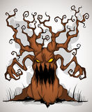 Horrible tree color. A terrible monster of a tree with hands-branches Royalty Free Stock Photo