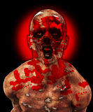 Horrible Zombie. Horrible rotten Zombie caked in human blood Stock Photos
