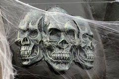 Horrific decor. Of terrific skulls from ghost train Royalty Free Stock Images