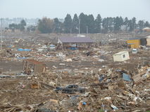 The horrific effects of the tsunami in Japan Stock Photo