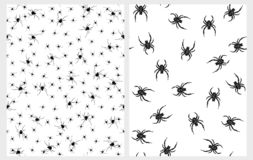 Scary Black Spiders Vector Patterns. Creepy Halloween Illustrations. royalty free illustration