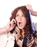 Horrified business woman Stock Photo