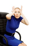 Horrified business woman Stock Image