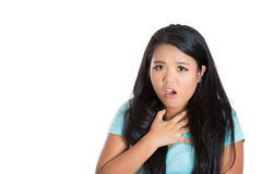 Horrified shocked woman with hand on chest Royalty Free Stock Image