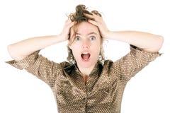Horrified woman Stock Image