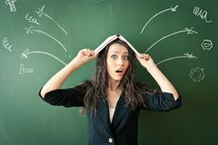 Horrified woman over chalkboard Stock Photo